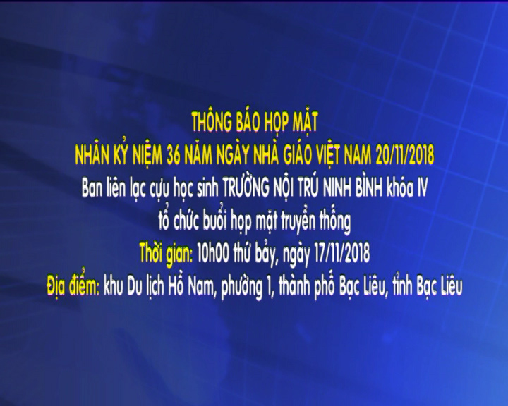Thông báo họp mặt – Ban liên lạc cựu học sinh Trường nội trú Ninh Bình khóa IV